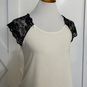 Cream black lace top
